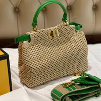 الأزياء الفاخرة المنسوجة حقيبة يد صغيرة حمل حقيبة انفصال حزام الكتف الكلاسيكية قفل دوران مثقب f محفظة إلكتروني نمط الأخضر مقبض الرافية