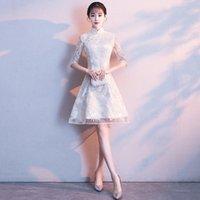 Günlük Elbiseler Lady Şampanya Nakış Çiçek Cheongsam Etek Tatlı Düğün A-Line Akşam Dressess Mandarin Yaka Dantel Qipao Elbise HSOO