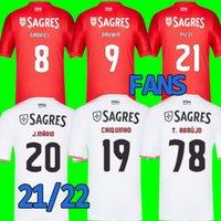 2021 2022 S.L.B Futbol Forması # 21 Pizzi # 27 Rafa # 8 Gabriel Ev Kırmızı Uzakta Beyaz 21/22 Futbol Gömlek Erkekler Yetişkin Kısa Kollu Özelleştirilmiş Futbol Üniformaları Satışa