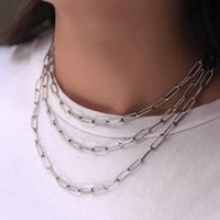 Chains Classic Paperclip Chain Necklaces For Women Girls Gold Silver Color Stainless Steel Cable Link Choker Minimalist Collar DN309