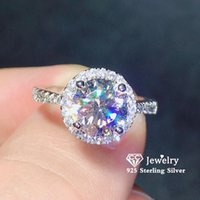 Cluster Rings Women S925 Silver Bridal Wedding Engagement Jewelry Cubic Zirconia Round Ring Simple Bague Bijoux Drop 583