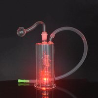 Led Glass water Pipe Color Change Light Dab Oil Rig Spring Percolater Portable Shisha Hookahs Ash catcher with 10mm male oil burner pipes