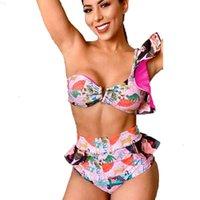 Bir 2 Qinjoyer Omuz Yüksek Bel Parçaları Mayo 2021 Bikini Fırfır Mayo Üçgen Mayo Kadınlar