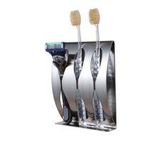 Por atacado de aço inoxidável montagem de parede escova de dentes 2,3 furos auto-adesivo escova de dentes organizador caixa de banho acessórios 554 R2
