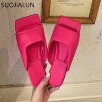 SUOJIALUN 2020 New Summer Women Slipper Fashion Embroidery Women Slip On Slides Square Toe Flat Casual Flip Flops Beach Slippers DRER34242
