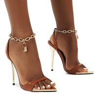 Shoes Fahion Women Sandals 8cm Extreme High Heels Stiletto Metal Chain Strappy Heel Lady Gladiator Sexy Stripper Sandles