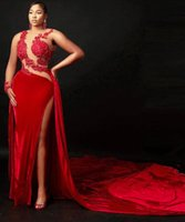2021 Plus Size Arabic Aso Ebi Red Velvet Sexy Prom Dresses Lace Beaded Sheer Neck Evening Formal Party Second Reception Gowns Dress ZJ393