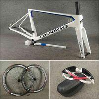 Blanc Bleu Colnago V3RS Cadres de disque Carbon Cadres Disque Cadreset Vélo 50mm Disc Carle de carbone avec Verrou Centre Emballé à la vente
