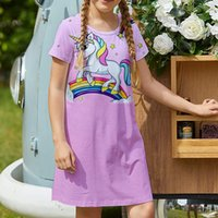 Rainbow Pony Girls Dress Short Sleeve Printed Dress Children's Casual Dress A-line Skirt Length Over the Knee Simple, Elegant and Colorful 5-15 Years Old