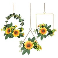 Decorative Flowers & Wreaths 3Pcs Floral Hoop Wreath,Hanging Garland Artificial Silk Sunflowers And Leaves Metal Ring Wreath For Home Wall D