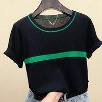 Shintimes Тонко вязаная футболка Женская Одежда 2021 Летняя Женщина Короткая Рукав Tees Топы Полосатая Случайная Футболка Женская футболка Femme