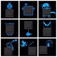 Wall Stickers Cartoon Luminous Switch Sticker Glow In The Dark Home Decor Kids Room Decoration Decal Cat Fairy Moon Star