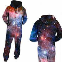Space Space Space Galaxy Star Stampato Loungewear Pigiama Unisex Zopper con cappuccio con cappuccio sciolto Open Sleepwear Onesies per adulti spessi tute w738 #