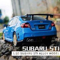 1/32 SUBARU WRX STI Alloy Sportsbil Modell Diecast High Simulation Metal Toy Car Modell Ljud och Light Collection Barngåva