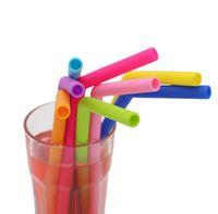 Pájaros de silicona flexibles de grado alimenticio colorido recto bent curvado de paja de bebida de barra reutilizable Bebida GGA5101