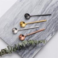 Cucharas de acero inoxidable 17 cm agitando cucharas de alimentos redondos Coffee Scoop Scoop Spoon Helado Helado Cucharas Cocina Flatware GWD10186