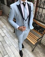 Dernières Design Blue 3 Morceaux Hommes Suit Prom Tuxedo Slim Fit Notch Notch Habillage Mariage Mariage Pour Hommes Custom Custom Blazer Terno MasuClino