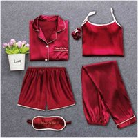 Strap Sleep Heightwear Pyjamas Femme 7 pièces Pajamas rose Ensembles Satin Silk Lingerie Homewear Sleepwear Pyjamas Ensemble Pijamas pour femme T200110
