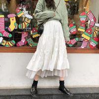 Skirts Long Tulle Midi Womens 2021 Autumn Elastic High Waist Mesh Tutu Pleated Female Black White Skirt Streetwear