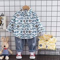 Clothing Sets Autumn Baby Boy Fashion Formal Set Kid Suits Full Printe Shirt Jeans Pants 2pac Set Children Clothes 1 2 3 4 Years
