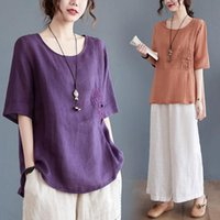 Women Chinese Traditional Style Tops Cotton Linen Loose Blouses Female Vintage Buckle Embroidery Hanfu Shirts Tang Suits Ethnic Clothing
