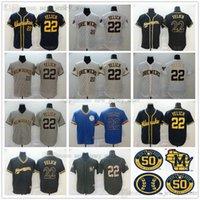 2021 Nachrichten Baseball 22 Christian Yelich Jerseys genäht Grauweiß Creme Home Navy Alternative Jersey Herren Größe S-XXXL