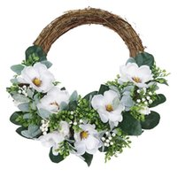 Decorative Flowers & Wreaths Artificial Magnolia Flower Wreath Christmas For Front Door Wall Windows Wedding Party Farmhouse Home Decoration