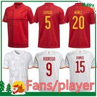 2021 اسبانيا لكرة القدم جيرسي Camiseta España Morata Rodrigo Torres Pedri 20 21 كأس أوروبا Thiago Iniesta Alba Football Shirts الرجال + أطفال كيت النساء المشجعين