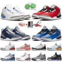 Nike Air Retro Jordan 3 3s stock x retro 3 2020 مع صندوق Jumpman أحذية الرجال لكرة السلة الحريرالأردنالرجعية UNC جزء الأحمر أسمنت اسكواش الملكي رجل مدرب حذاء رياضة
