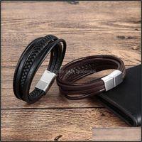 Bangle Bracelets Jewelrybangle Tjp Design Mti-Layers Braided Genuine Leather Bracelet & For Men Male Hand Jewelry Birthday Gift1 Drop Delive