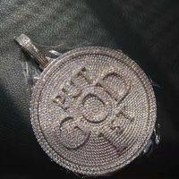 قطر 6 سنتيمتر جولة المعلقات مطلية بالذهب بلينغ كامل مثلج خارج تشيكوسلوفاكيا مخصص خطابات قلادة قلادة للرجال النساء الهيب هوب مجوهرات هدية