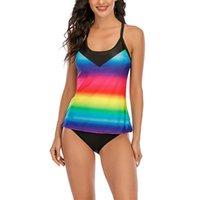 Women's Swimwear Plus Size Women Swimsuit Sexy Tankini Set Two-piece Suits Swirly Paisley Print Padded Bandage Bathing Suit Swimdress 29