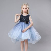 Girls Dresses Princess Kids Clothes Children Clothing Childrens Skirt Evening Summer Embroidered Sequin Flowers Party Dress B7646