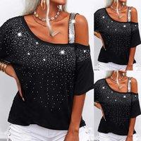 Black White Half Sleeved Women Paillettes Top T-shirt Casual Blouses Formula A Shoulder Ladies T-shirt Female T-shirt Tshirt D30
