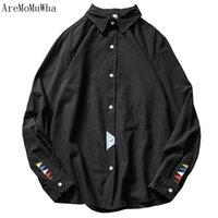 AremomuWHA 2021 Primavera Solid Camicia bianca Casual Uomo Plus Fat Bigge -s Shirt a maniche lunghe a maniche lunghe Toppisti in cotone Turn-down QX020 Uomo