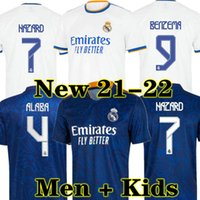 Real Madrid Jerseys 21 22 كرة القدم قميص كرة القدم Alaba Hazard Benzema Asensio Madric Marcelo Camiseta الرجال + Kids Kit 2021 2022 Casemiro Kroos Isco Vini Jr.