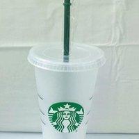 Starbucks Starbucks 24oz / 710ml Table en plastique Réutilisable Clear Clear Coupe Appartement Coupe Pilier Couvercle Couvercle Tasses de paille Bardian 50pcs DHL