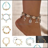 Anklets Jewelrybohemian Sea Shell Anklet For Women Seed Beads Chains Dolphin Turtle Pendant Charm Summer Beach Barefoot Ankle Bracelet On Le