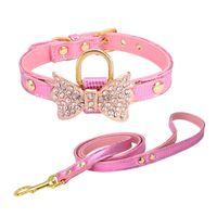 Leuke gepersonaliseerde Designer Dog Lederen Pet Collars Plus Grooming Service Matching Collar Leash Harness Set Kam Puppy Harness 526 S2