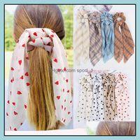 Headbands Jewelry Jewelry14 Styles Fashion Lattice Stripe Print Scrunchie Scarf Elastic Hairband Bow Rubber Ropes Girls Hair Ties Aessories