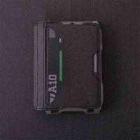 RFID Metal holder Microfiber Credit Bifold Aerospace Aluminum ID Card Case Sim Men Business Badge Wallet