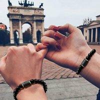Black stone Beads 12 constellation Strands couple Bracelet Men Bracelets For Women Pulseras Moda Masculina Hombre Man Mens Jewellery wholesale