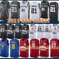 Мужская 2021 Новый Баскетбол Джерси ДенверСамородкиSan Mens AntonioШпоры Никола Джамал 27 Мюррей 15 Jokic Tim 21 Дункан Фиолетовый