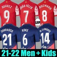 21 22 Camiseta do Atlético de Madrid SUAREZ Griezmann JOÃO FÉLIX JOAO FELIX M. LLORENTE KOKE CORREA CARRASCO TRIPPIER R. DE PAUL 2021 2022 masculino feminino + infantil kit camisas