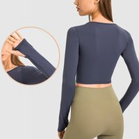 New products for autumn and winter stretch slim Yoga Outfits tops skin-friendly nude feeling net red solid color long-sleeved T-shirt for women