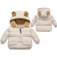 Lawadka Kış Çocuk Kız Erkek Ceket Pamuk Aşağı Palto Kulak Hoodie Giysi Moda Çocuk Çocuk Ceket Giyim 2-6 T 210930