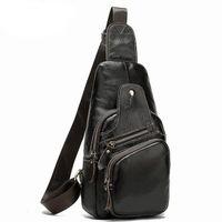 2021 men's cowhide chest crossbody bag genuine leather men shoulder messenger bags sports satchel top quality 7909
