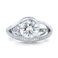 Anéis de casamento huitan anel vintage para mulheres grandes rodadas corte cúbico zirconia bonito padrão oco especial-interesse jóias retrô