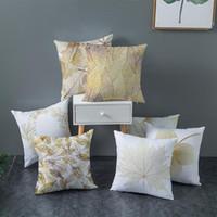 وسادة / وسادة الزخرفية الذهب يترك بتينتد وسادة غطاء النبات طباعة رمي حالة الأزياء ديكور المنزل المنسوجة وسادات مربع