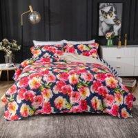 Rotes floral baumwolle bettcover amerikanische europäische gesteppte pastorale decread kissenbezug 3 stücke set luxus bed set king size 230x250cm quilt coverset